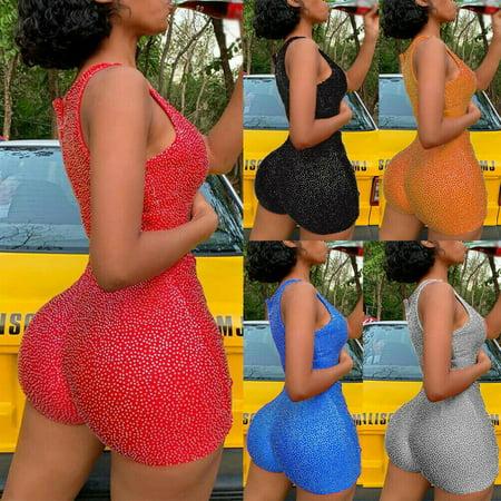 Multitrust Women's Short Romper Jumpsuit Leotard Sleeveless Top Women Stretch Blouse Lady Bodysuit](Orange Prison Jumpsuit Womens)