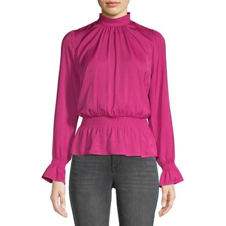 Scoop Hammered Satin Long Sleeve Peplum Top Women's ()