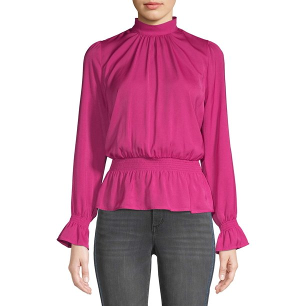 Scoop Hammered Satin Long Sleeve Peplum Top Women's