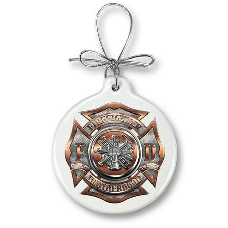 firefighter polished brass diamond plate-Christmas Tree Ornaments