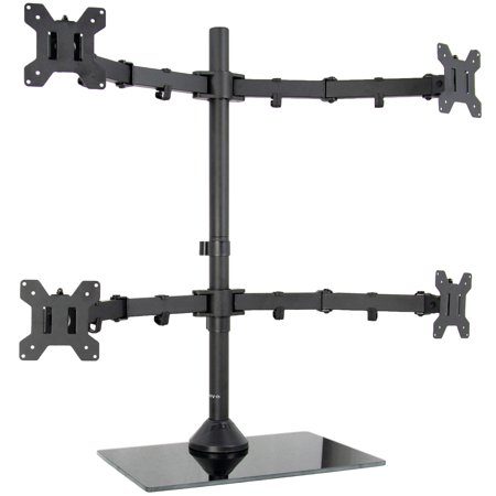 vivo black adjustable quad monitor desk stand mount, free standing heavy duty glass base | holds 4 screens up to 27 inches (stand-v004fg) Free Standing Quad Mount
