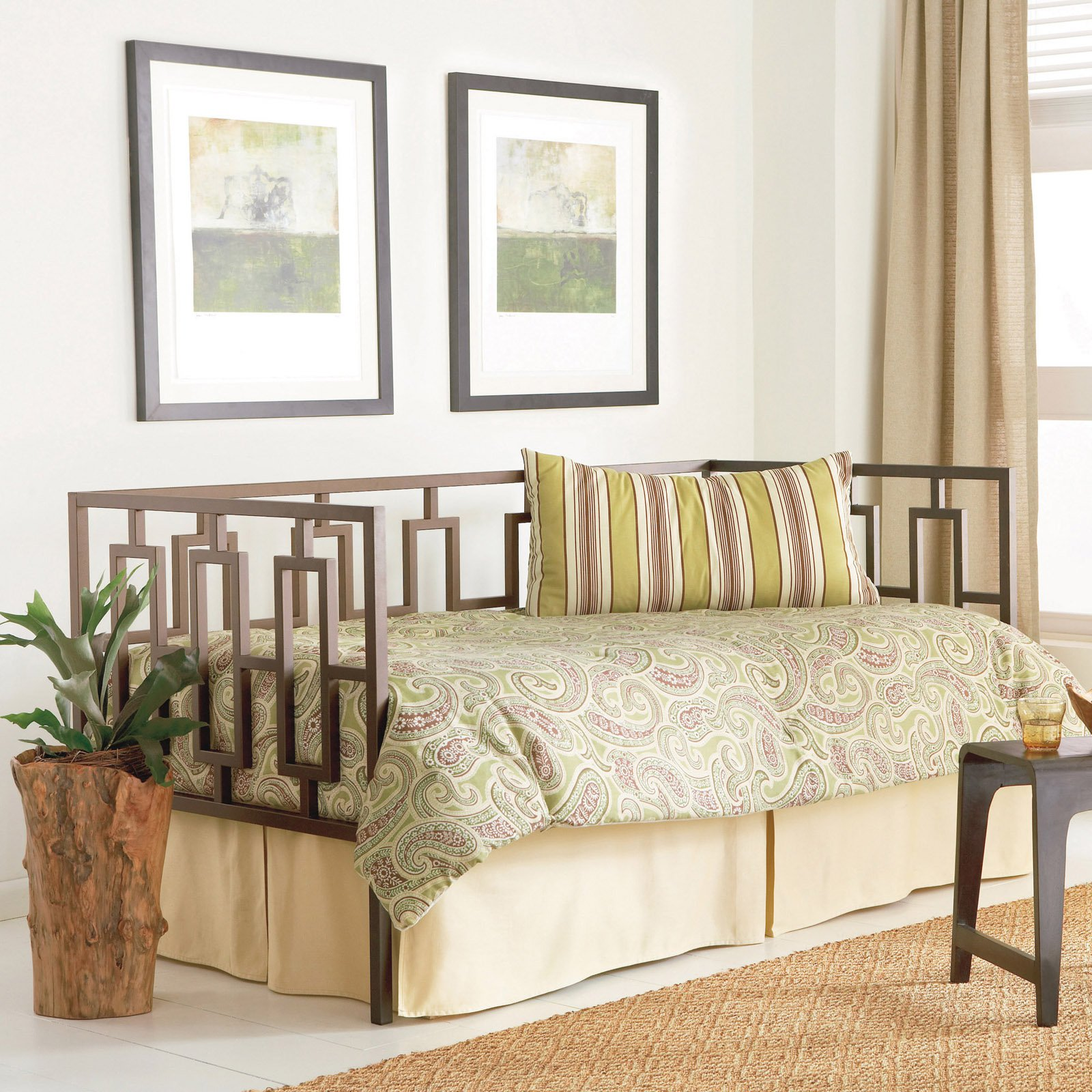 Miami Complete Metal Day Bed with Link Spring and Trundle Bed Pop-Up Frame, Coffee Finish, Twin by Fashion Bed Group