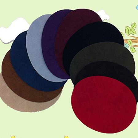 Ioffersuper 1Pair Sew On Oval Suede Fabric Elbow Knee Patch Sewing Repair Mend Patches Diy Black