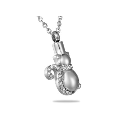 Crystal Kitty Cat Cremation Jewelry Keepsake Memorial Urn Necklace Ash - Lead Crystal Urn