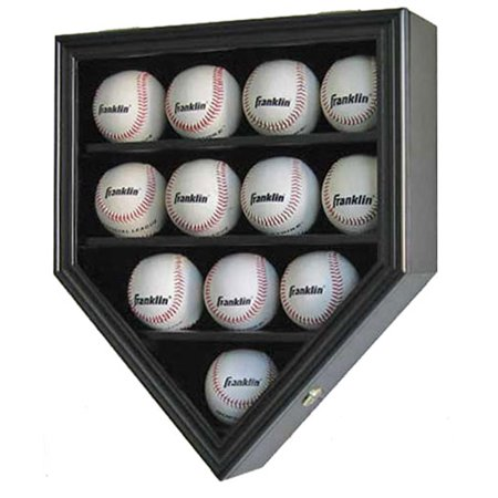 12 Baseball Display Case Wall Cabinet Shadow Box, UV Protection Door, Black Baseball Cabinet Style Display Case