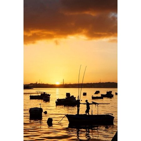 Boats silhouetted at sunrise Havana Harbor Cuba Stretched Canvas - Adam Jones  DanitaDelimont (13 x 19)