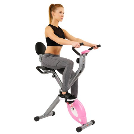 Sunny Health & Fitness Magnetic Folding Recumbent Bike Exercise Bike, 220lb Capacity -