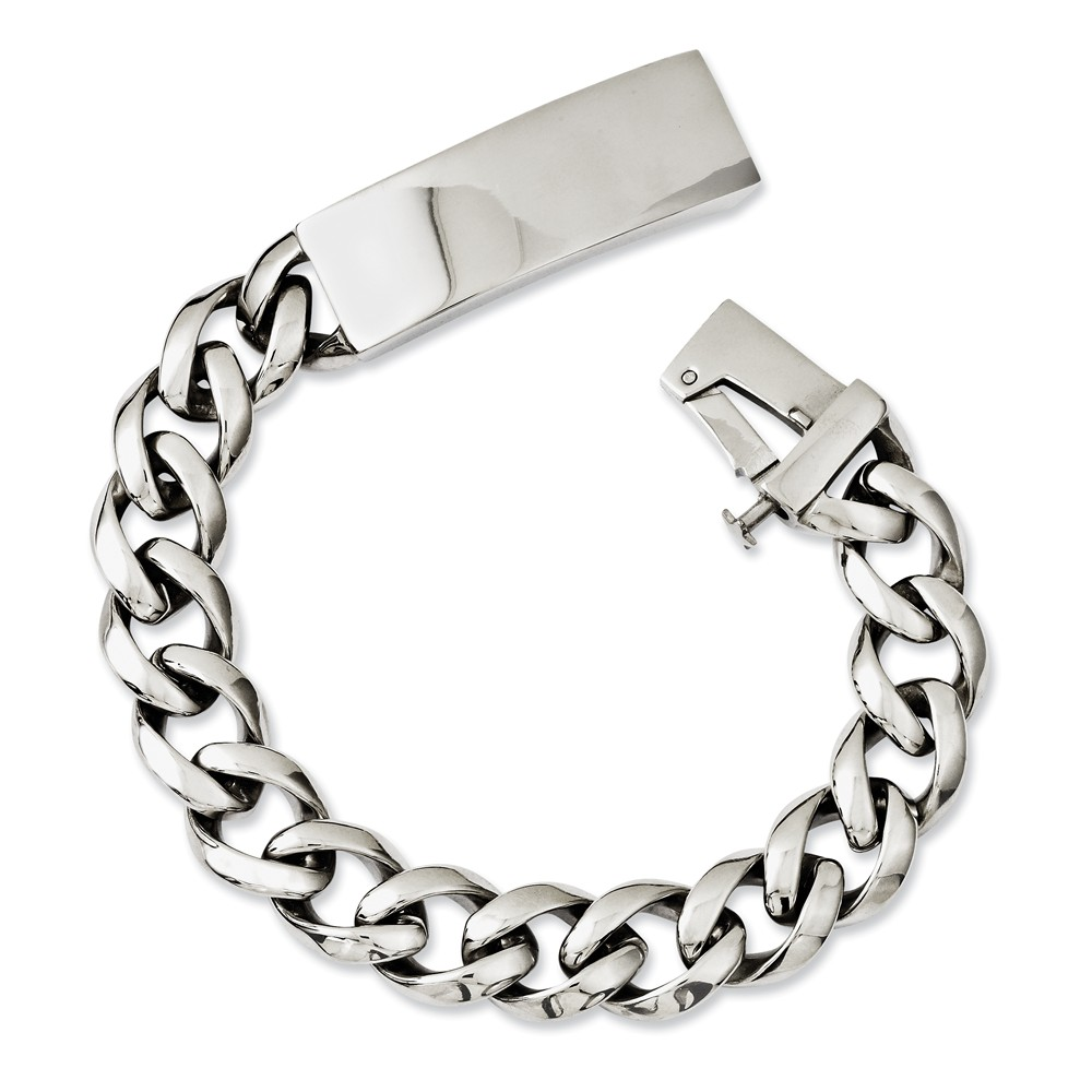 Stainless Steel Polished w/ID Plate 8.5in Bracelet
