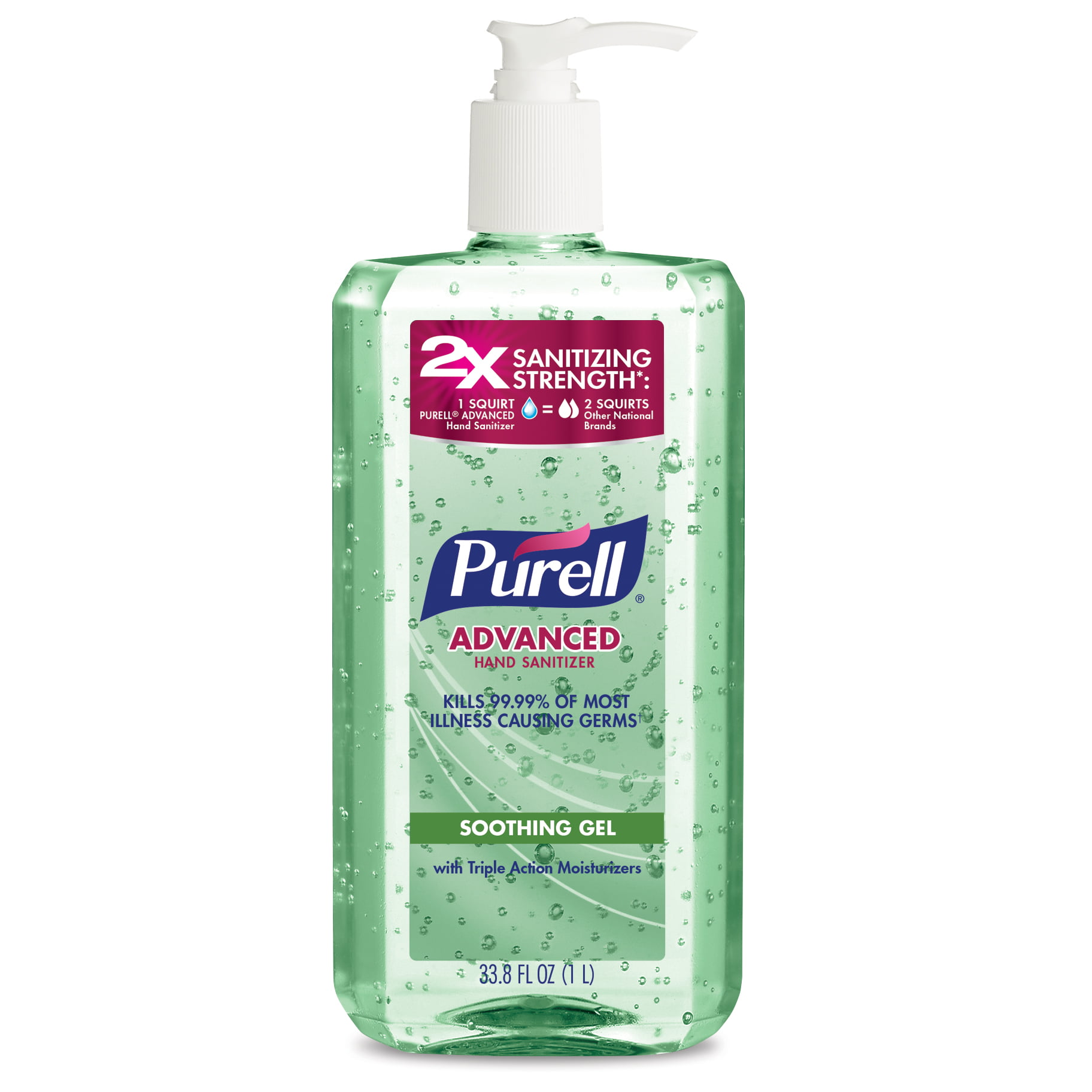 PURELL Advanced Hand Sanitizer Soothing Gel, Fresh scent, with Aloe and Vitamin E- 1 Liter pump bottle