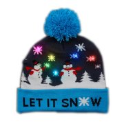 Blinkee A1440 Multi Color LED Snowy Snowflake Winter Christmas Holiday Snowmen Beanie Hat