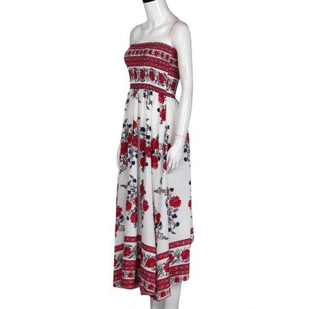 17a3089338c5 Mioct - Women's Bohemian Off Shoulder Strapless Floral Print Split Long  Maxi Dress, S-XL - Walmart.com