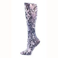 Celeste Stein CMPS B/W Vines and Roses Therapeutic Compression Sock
