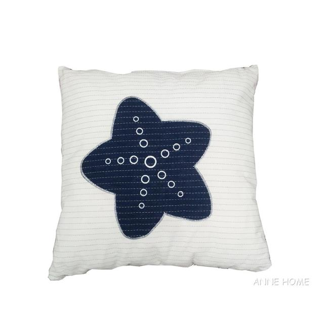 Old Modern Handicrafts AB003 White Pillow, Blue Star by Old Modern Handicrafts