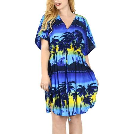Short Caftan - Soft Likre Splash Waves Palm Tree Cover up Beach Dress Short Lounge Caftan Top