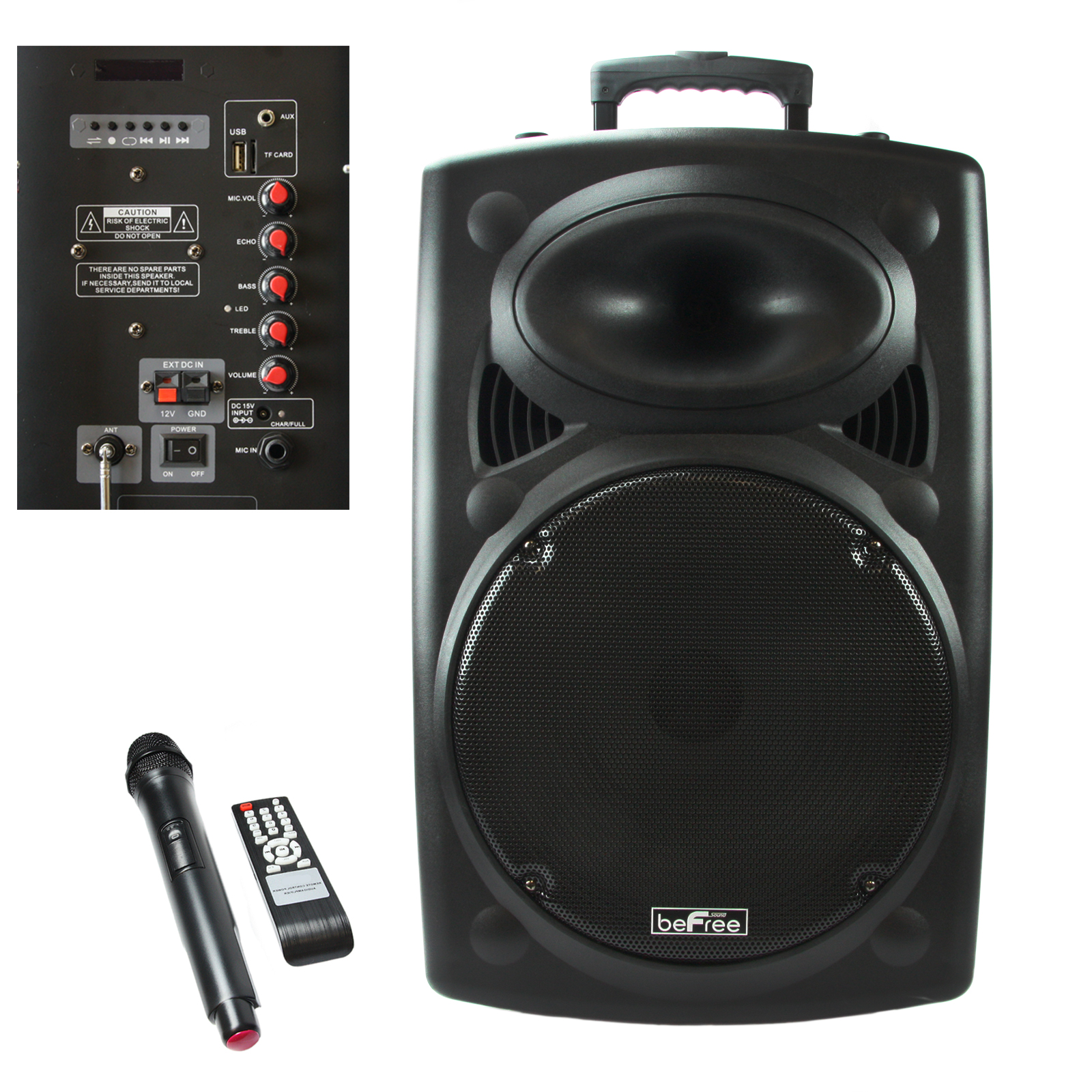 beFree Sound 15 Inch Woofer Portable Bluetooth Powered PA Tailgate Party Rechargeable Speaker