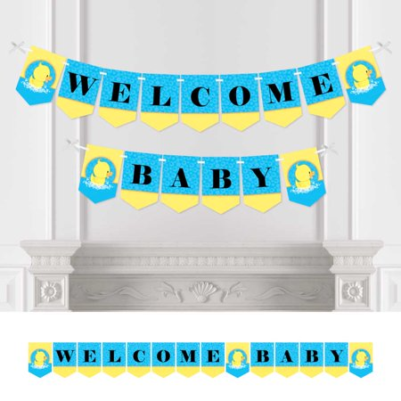 Ducky Duck - Baby Shower Bunting Banner - Blue Party Decorations - Welcome - Duck Baby Shower Decorations