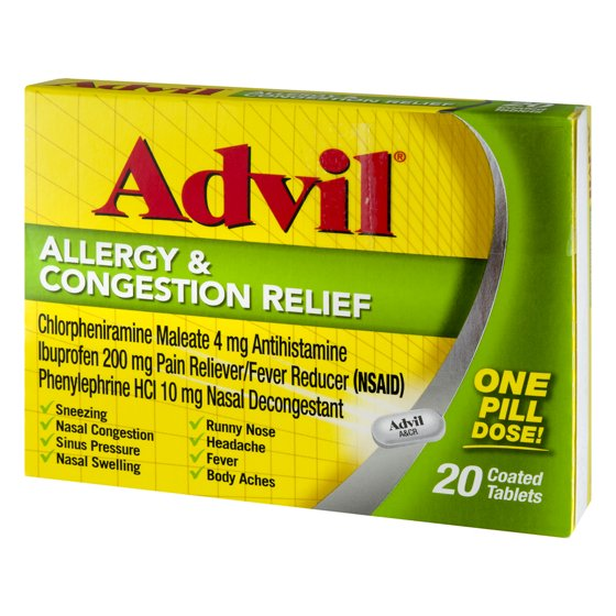 Advil Allergy Congestion Relief 20 Count Pain Reliever Fever