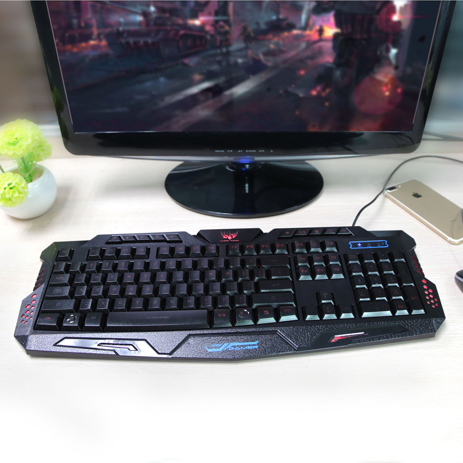 GPCT Wired Gaming Keyboard with 3 Color Backlight