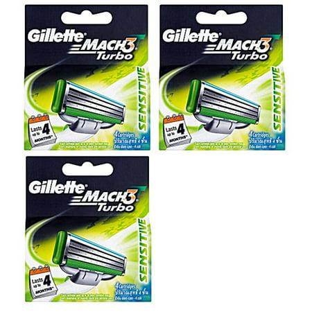 Gillette Mach3 Turbo Sensitive Refill Blade Cartridges, 12 (Gillette Mach3 Turbo Sensitive Cartridges Pack Of 8)