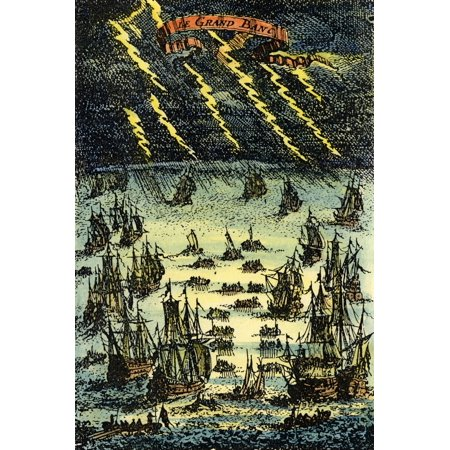 Fishing Fleet 1683 Nlate 17Th Century Fishing Fleet On The Grand Banks Off The Coast Of Newfoundland Canada Copper Engraving French 1683 Rolled Canvas Art     24 X 36
