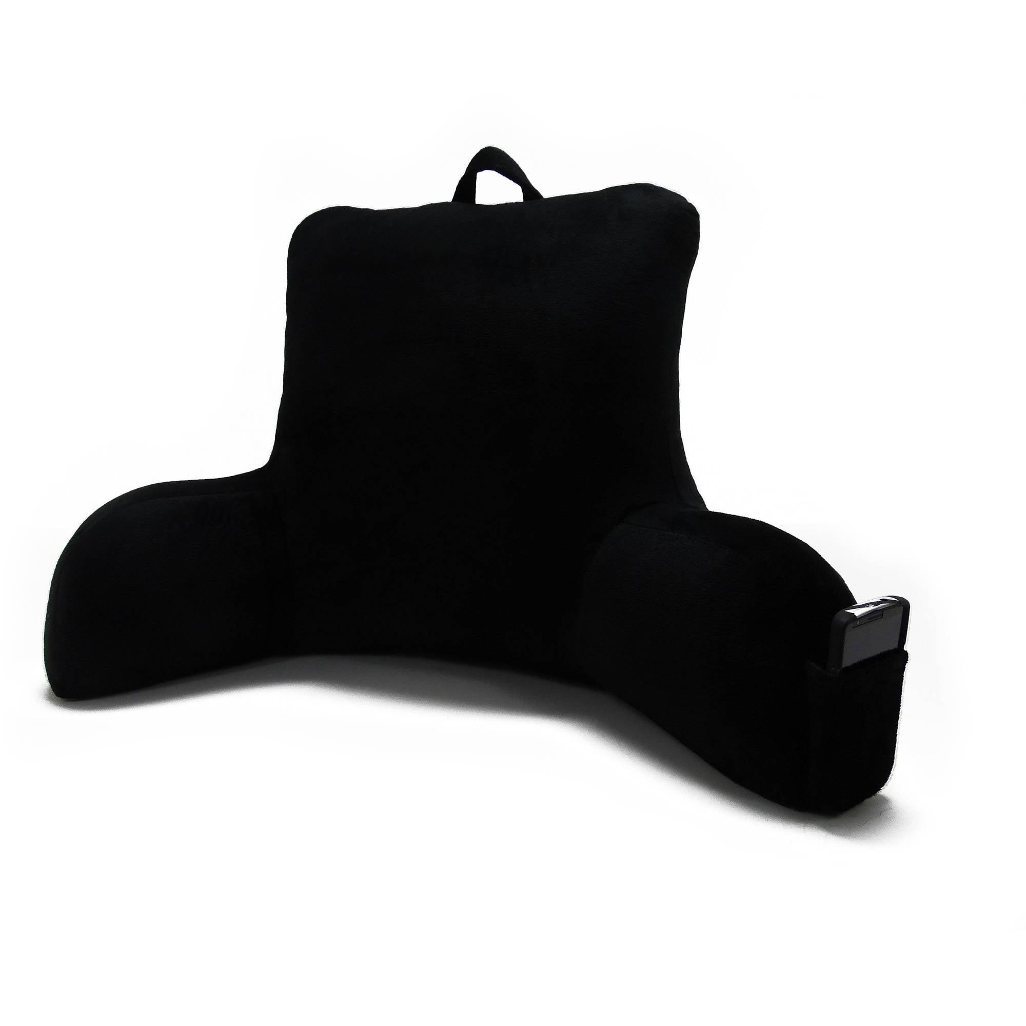 Bed rest pillow black - Bed Rest Pillow Back Support Arm With Pocket Backrest Cushion Garnet Black