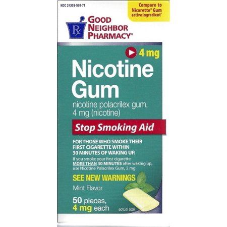 Nicotine Quit Smoking Mint Gum (4 mg), 50 Pieces Per Box By Good Neighbor Pharma Quit Smoking Gum