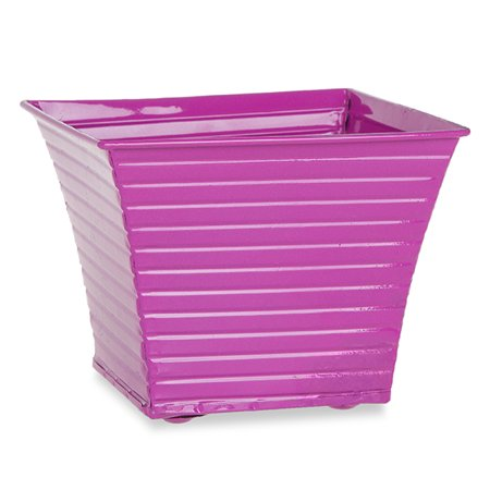 Ribbed Square Planter - Hot Pink - 6inch