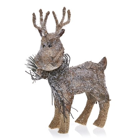 Pack of 2 Country Rustic Prancer the Reindeer Snowy Birch Bark Christmas Table Top Decorations 9.75