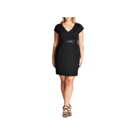 City Chic Womens Plus Short Sleeves Above Knee Party Dress Black XL - Spandex Suit Party City