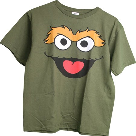 Sesame Street Oscar The Grouch Forest Green Youth T-Shirt X-Large Size 18