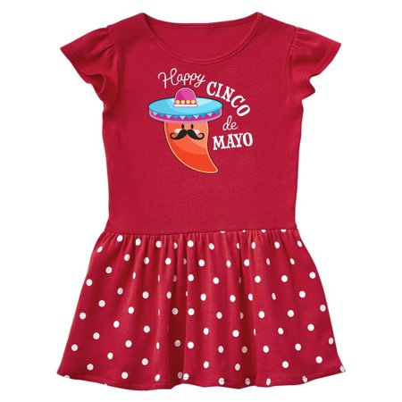 Happy Cinco de Mayo- pepper in a sombrero Toddler Dress (Toddler Sombrero)