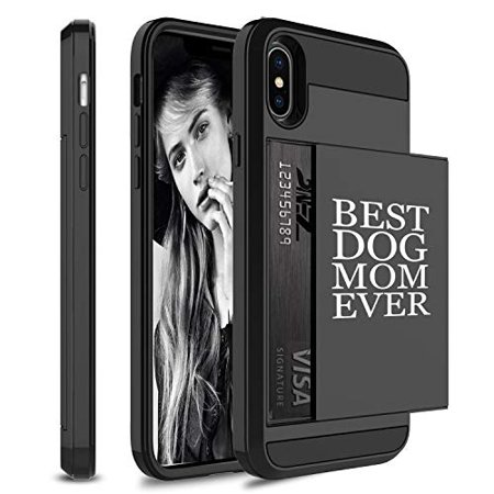 Wallet Credit Card ID Holder Shockproof Protective Hard Case Cover for Apple iPhone Best Dog Mom Ever (Black, for Apple iPhone X/iPhone