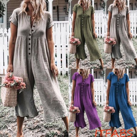 Womens Summer Short Sleeve Jumpsuit Playsuit Casual Loose Rompers Trousers (Turtle Short Sleeve Romper)