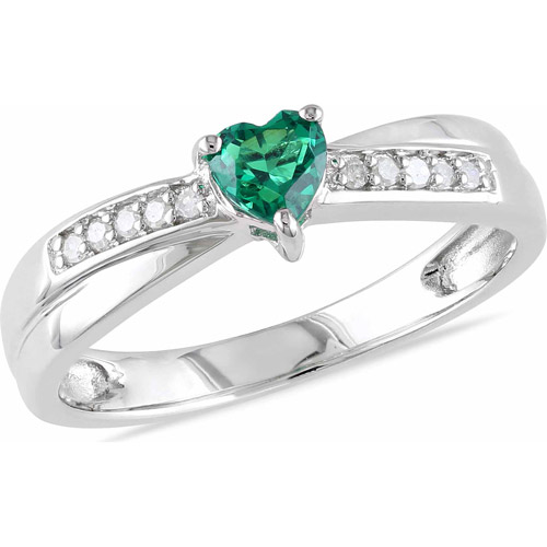 1/4 Carat T.G.W. Created Emerald and Diamond-Accent Sterling Silver Cross-Over Heart Ring