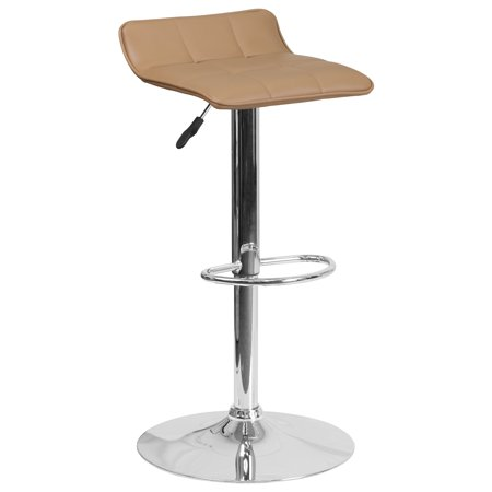 Flash Furniture Contemporary Vinyl Adjustable Height Barstool with Chrome Base, Multiple
