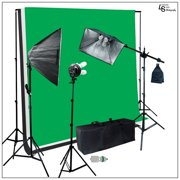 1600W Chromakey Backdrop Support Softbox Light Kit with White Black Green Muslin for Photo Video Lighting by Loadstone Studio WMLS0255