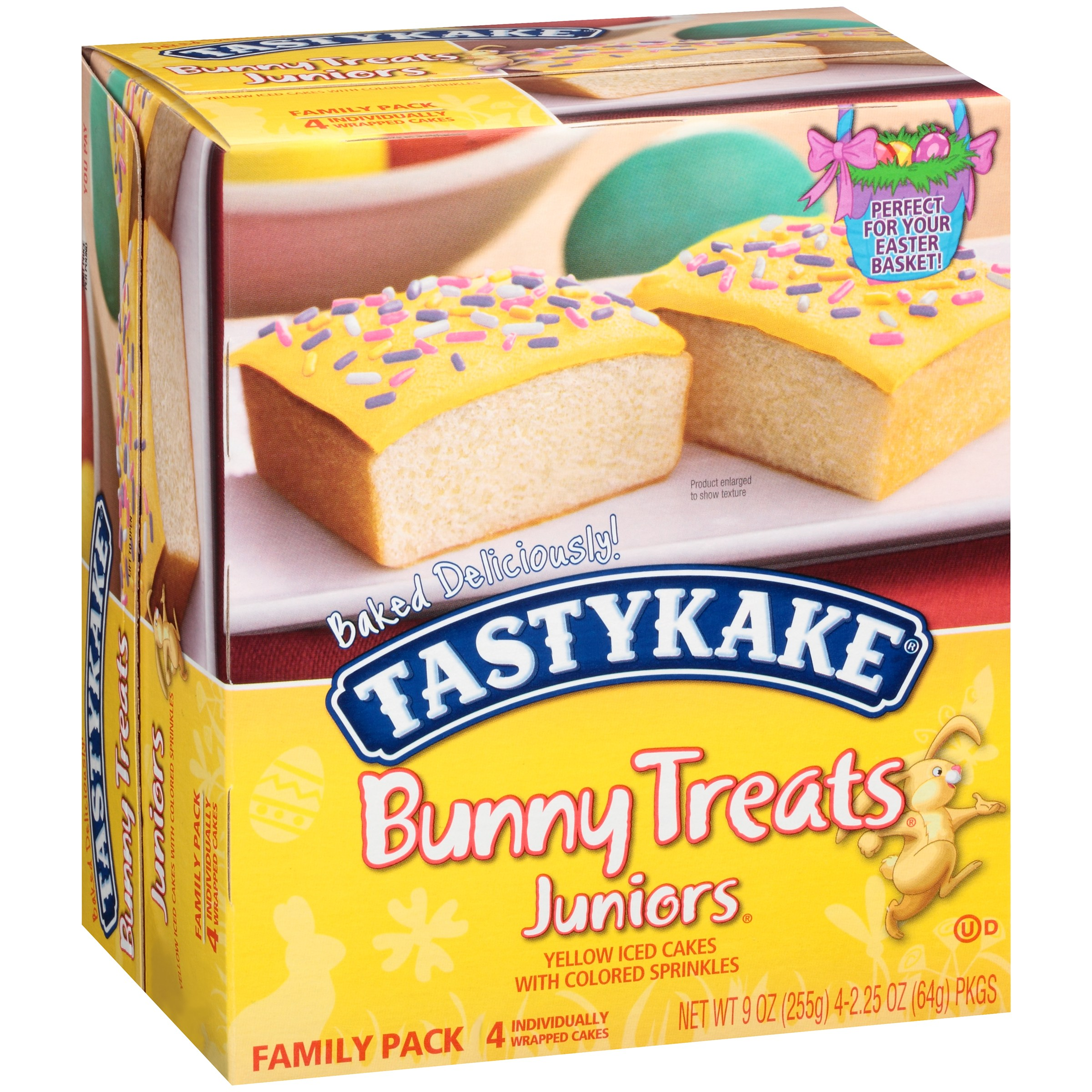 Fastykake® Bunny Treats Juniors® Yellow Iced Cakes with Colored Sprinkles 4 - 2.25 oz. Pkgs