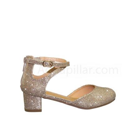 Anytime2 by Speed Limit 98, Glitter Children Girls Block Heel Round Toe Open Shank Dress Sandal](Children Heels)