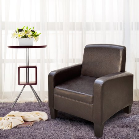 Cloud Mountain Faux Leather Arm Chair Couch Club Chair Brown