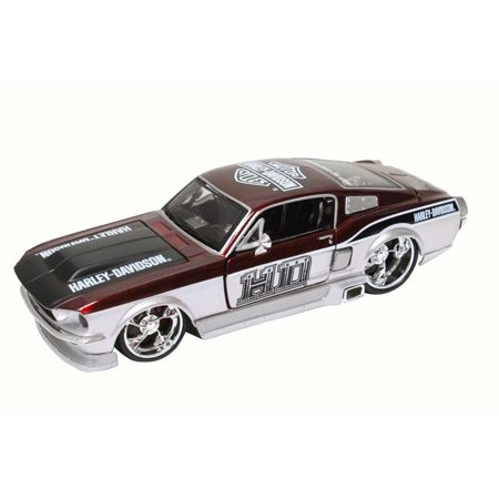 1967 Ford Mustang GT, Metallic Red - Maisto Harley-Davidson 32168 - 1/24 Scale Diecast Model Toy Car