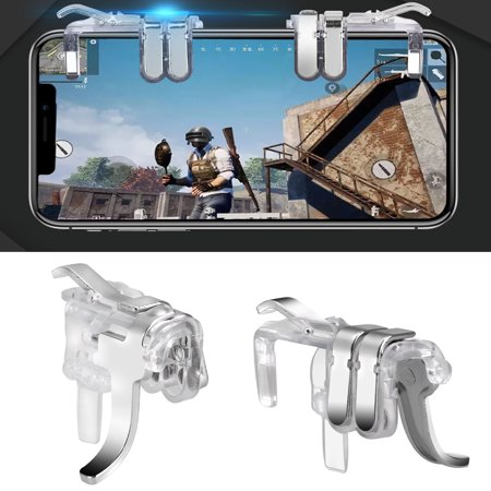 TSV Mobile Game Controller Gamepad Trigger Aim Button L1R1 L2 R2 Shooter Joystick for iPhone Android PUBG Mobile, Transparent, (Best Racing Games For Android Mobile)