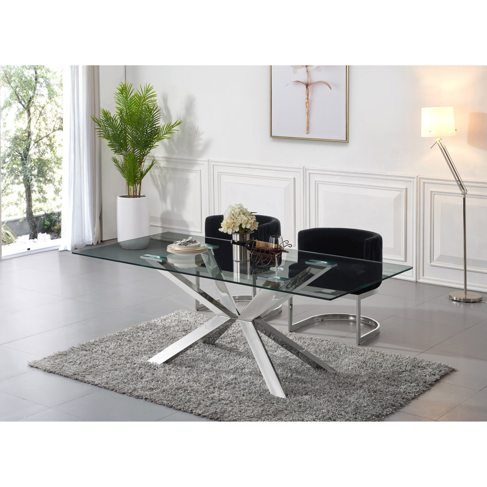 Meridian Furniture Inc Juno Chrome Dining Table