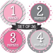 Months in Motion Baby Monthly Stickers - Baby Milestone Stickers - Newborn Girl Stickers - Month Stickers for Baby Girl - Baby Girl Stickers - Newborn Monthly Milestone Stickers (Set of 36)