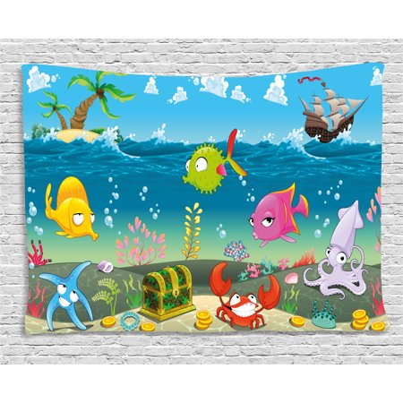 Kids Tapestry, Funny Sea Animals Underwater Ocean View with Sail Boat Palm Trees Cartoon Artwork, Wall Hanging for Bedroom Living Room Dorm Decor, 80W X 60L Inches, Multicolor, by Ambesonne