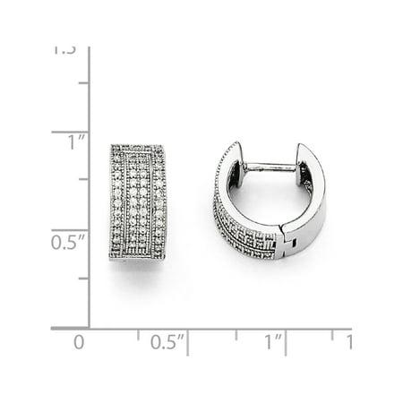 925 Sterling Silver & CZ Brilliant Embers Polished Hinged Hoop (14x12mm) Earrings - image 1 de 2
