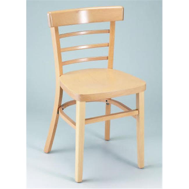 Alston Quality 1105-UP-N-Ivory Ladder Back Side Chair With Upholstered Seat Natural Frame