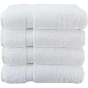 Wealuxe Cotton Bath Towels, Soft and Absorbent Hotel Towel, 27x52, 4 Pack, White