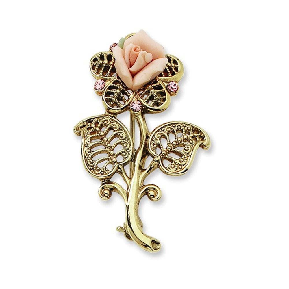 Gold-tone Pink Porcelain Rose Pink Crystal Pin Brooch by
