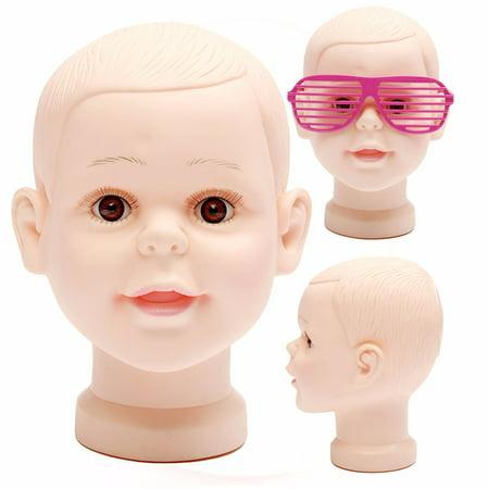 LuckyFine Children Kid ig Making Head Bald Mannequin Head Wig Making Display Hat Display Glasses Display