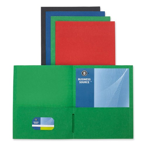 """Business Source Double Pocket Portfolio - Letter - 8.50"""" X 11"""" - 125 Sheet Capacity - 2 Pockets - Paper - Assorted - 25 / Box (BSN78502)"""